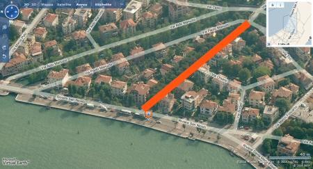 Area di via duodo evidenziata in rosso
