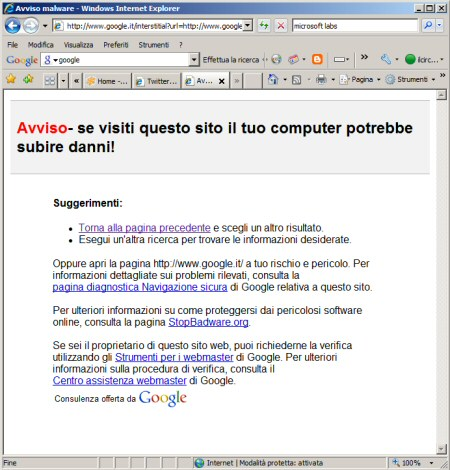 Google comunica di stare attenti a google.it