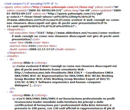 Codice XML che rappresenta i testi alternativi delle slide