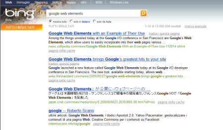 bing: risultato della ricerca per google web elements