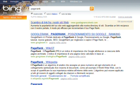 Bing: ricerca termine pagerank